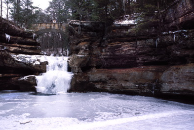 Hocking Hills frozen waterfalls